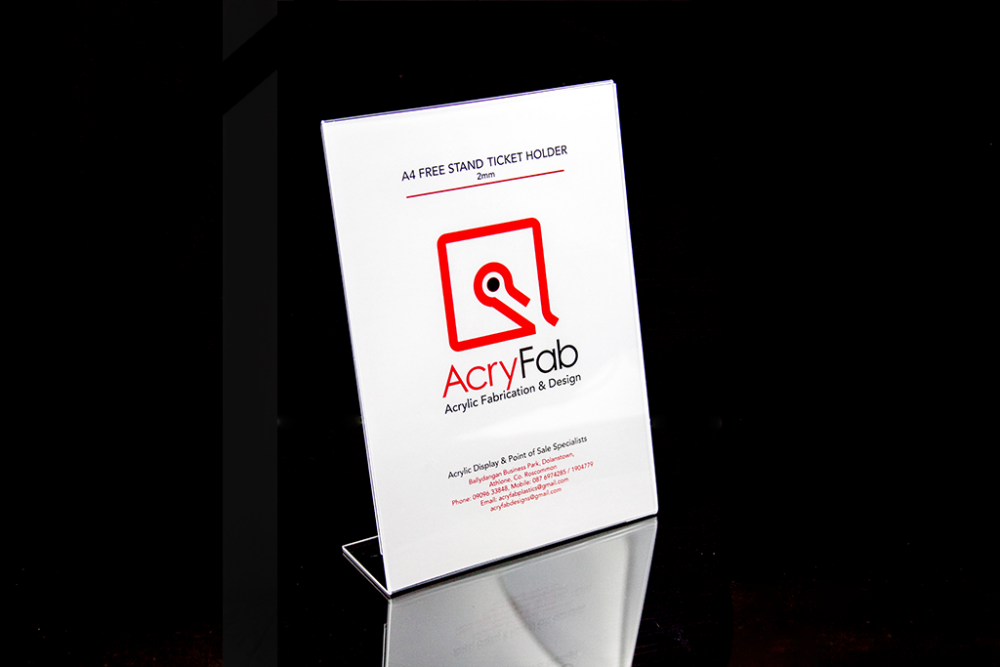 A4 Free Stand Ticket Holder - 2mm